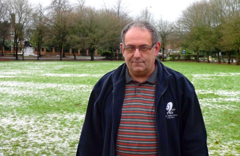 May Bank Councillor Ian Matthews, at Sandy Lane Park, the Brampton.