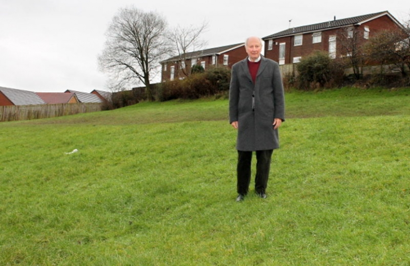Porthill Councillor John Cooper, at the green space on St Edmunds Avenue.