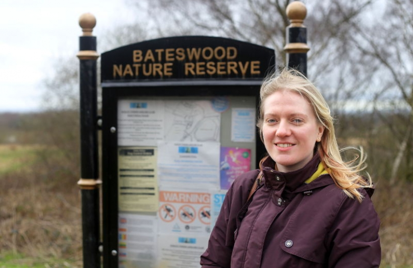 Halmer End ward Conservative candidate Laura Bloor at Bateswood nature reserve.